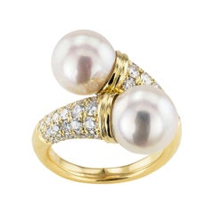 Cultured Pearl Diamond Yellow Gold Bypass Ring