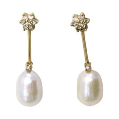 Cultured Pearl Diamond Yellow Gold Ear Pendants