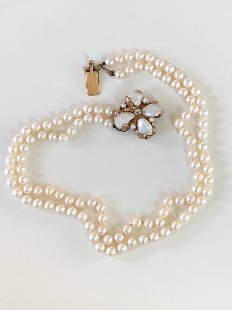 Cultured Pearl Double Strand Necklace and Diamond and 14 Karat Yellow Gold Clasp For Sale 3