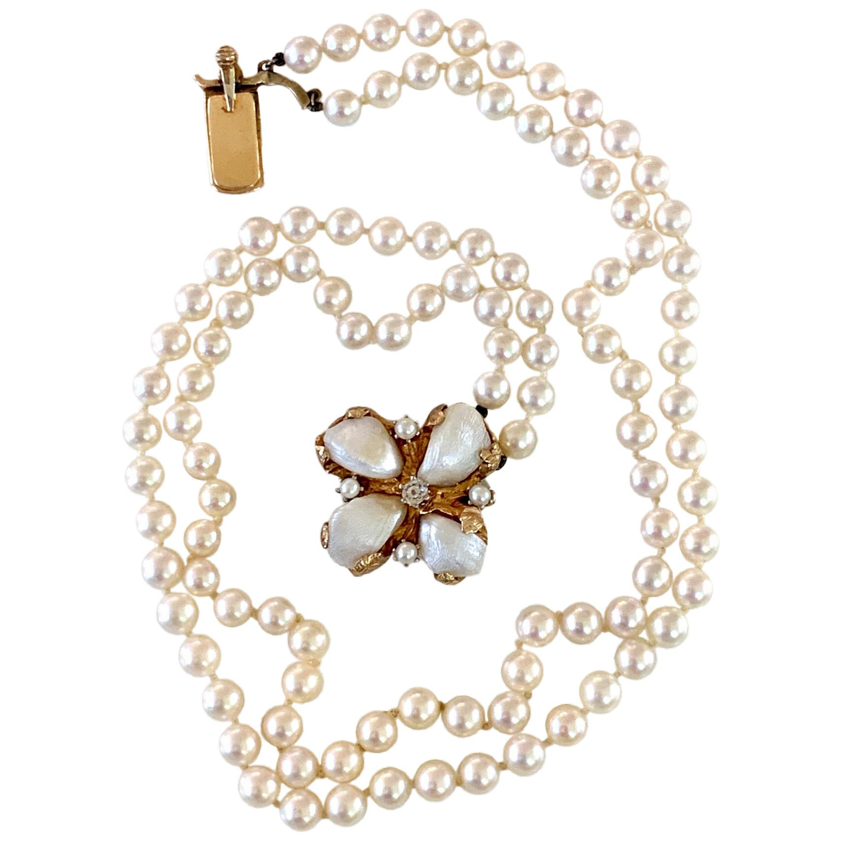 Cultured Pearl Double Strand Necklace and Diamond and 14 Karat Yellow Gold Clasp
