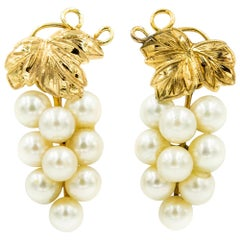 Cultured Pearl Grape Cluster with Yellow Gold Vines and Leaves Earrings