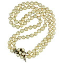 Cultured Pearl Necklace the Double Graduated Strand