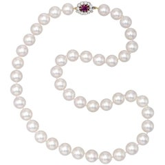 Cultured Pearl Necklace with Antique Ruby and Diamond Clasp