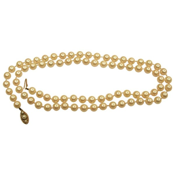 Cultured Pearl Necklace with Cultured Pearl 9 Carat Snap, Dated circa 1960