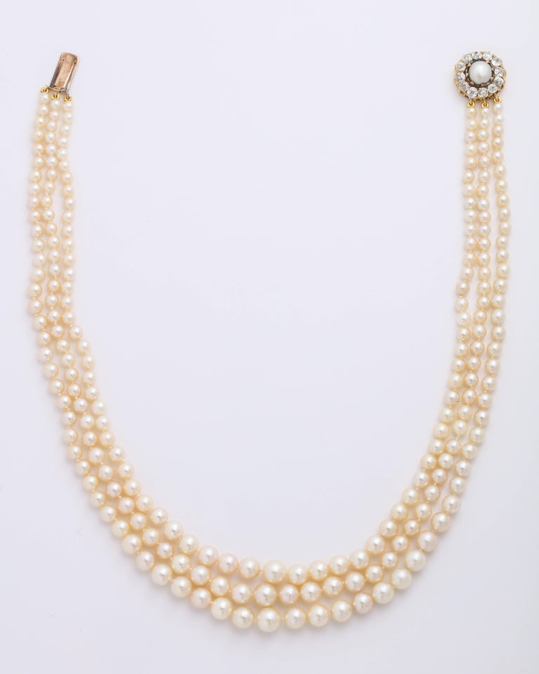 Cultured Pearl Necklace with Antique Diamond Clasp In Good Condition For Sale In New York, NY
