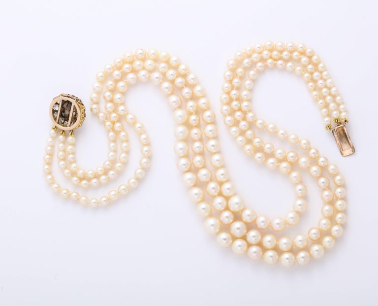 Cultured Pearl Necklace with Antique Diamond Clasp For Sale 1