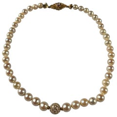 Cultured Pearl Necklace With Diamond Pave Ball