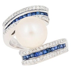 Cultured Pearl, Sapphire and Diamond Ring, 18 Karat White Gold Bypass 1.49 Carat