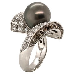 Cultured Pearl White and Brown Diamonds White Gold 18 Karat Ring