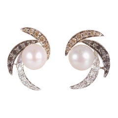 Cultured Pearl with Diamond Earrings by IO Si