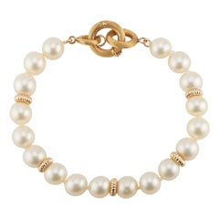 Cultured Pearl Yellow Gold Bracelet