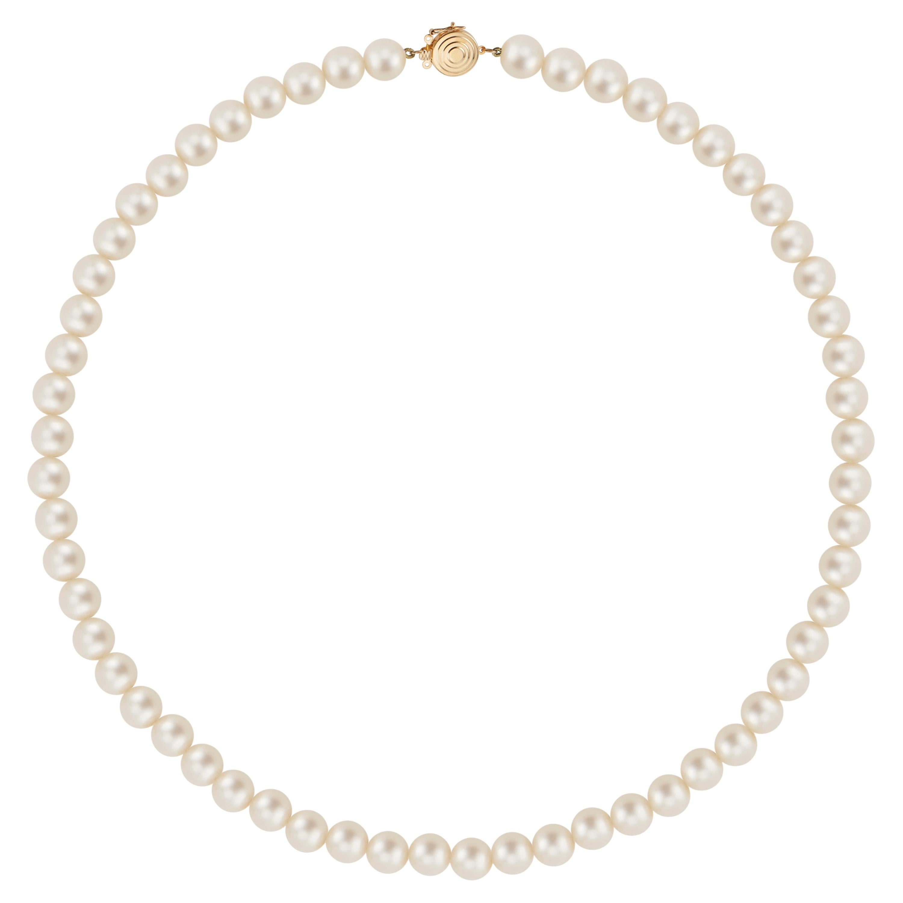 Cultured Pearl Yellow Gold Necklace