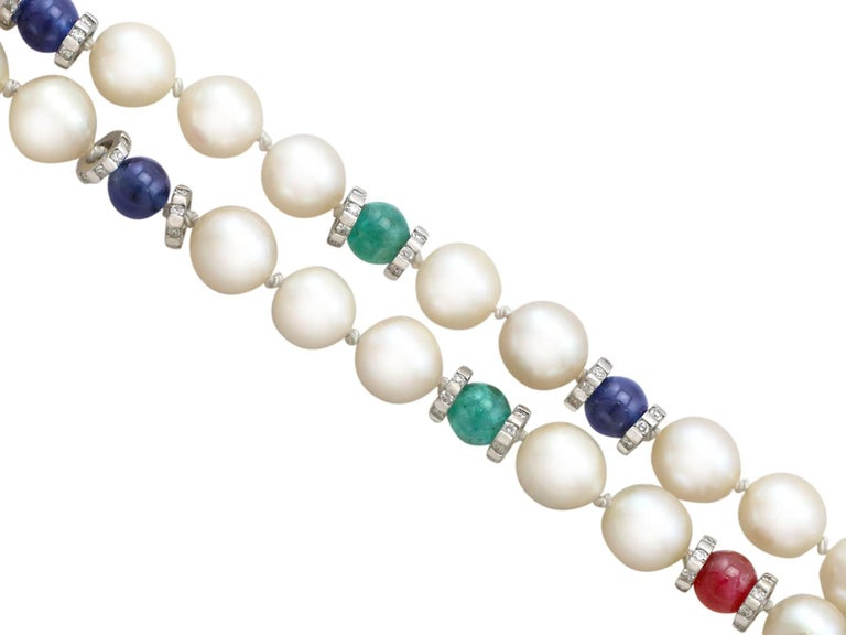 Women's Cultured Pearl Diamond Sapphire Emerald Ruby and Yellow Gold Necklace For Sale