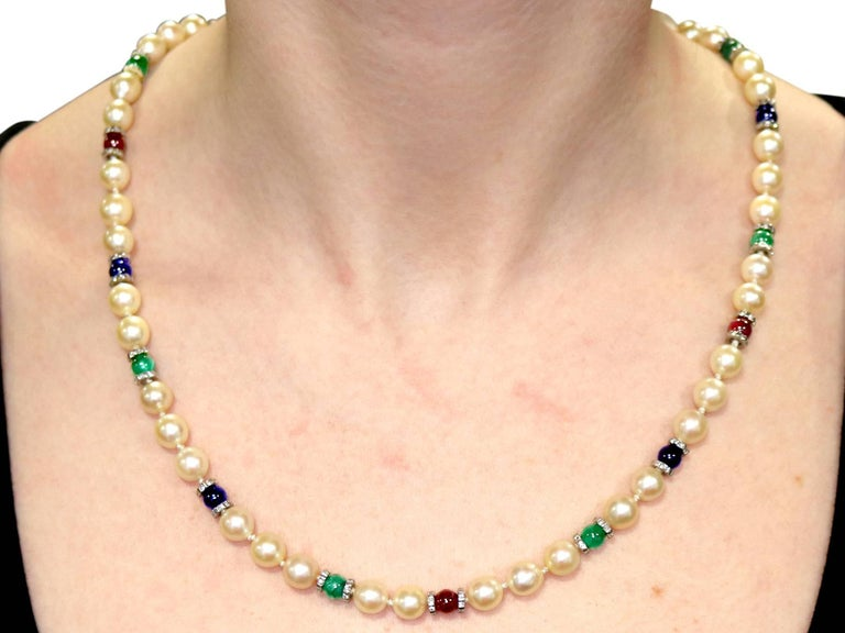 Cultured Pearl Diamond Sapphire Emerald Ruby and Yellow Gold Necklace For Sale 4