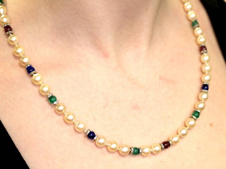 Cultured Pearl Diamond Sapphire Emerald Ruby and Yellow Gold Necklace For Sale 5