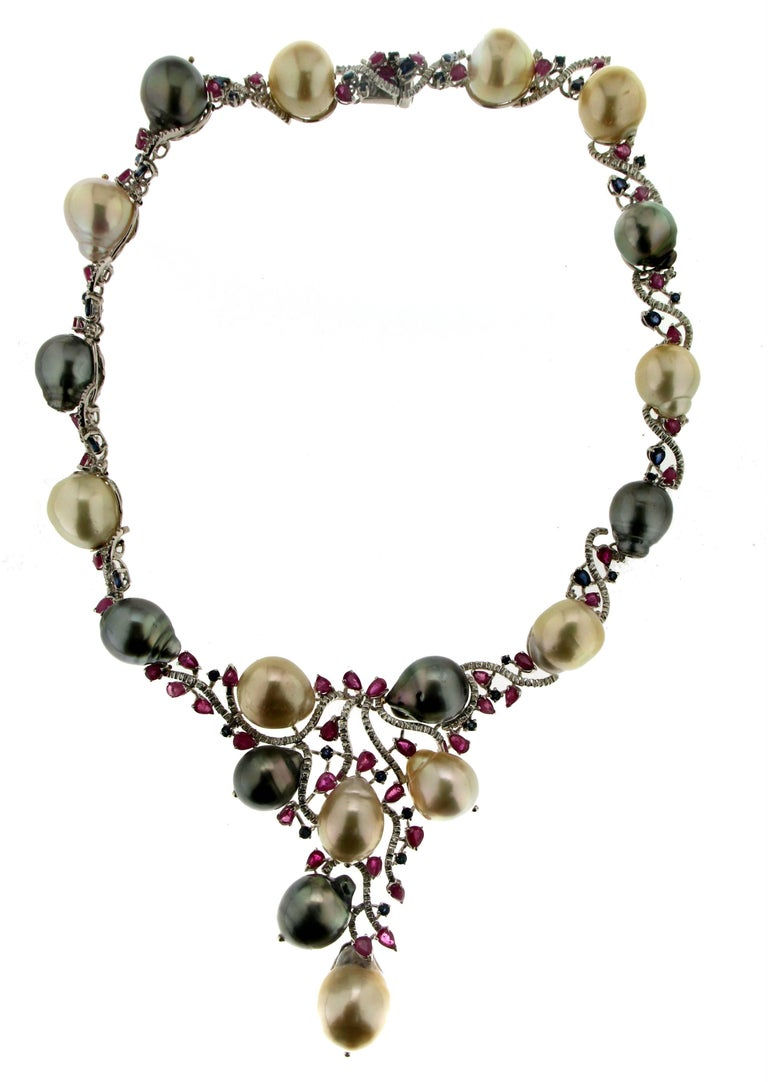 Cultured Pearls Gold Diamonds Choker Necklace In As New Condition For Sale In Marcianise, IT