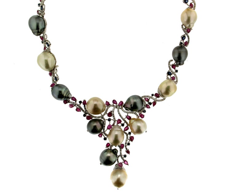 Women's or Men's Cultured Pearls Gold Diamonds Choker Necklace For Sale