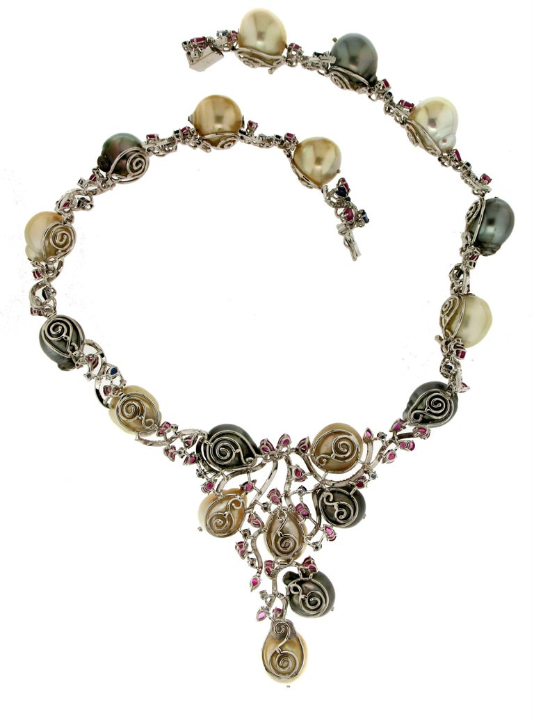 Cultured Pearls Gold Diamonds Choker Necklace For Sale 1