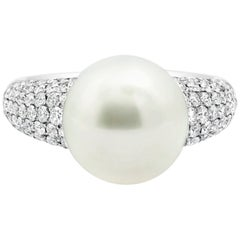 Cultured South Sea Pearl and Diamond Cocktail Ring