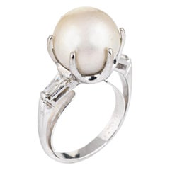 Cultured South Sea Pearl Diamond Ring Vintage 14 Karat White Gold Jewelry