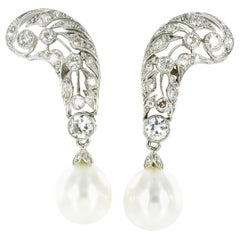 Cultured South Sea Pearls and Diamond Earrings in Platinum