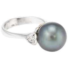 Cultured Tahitian Black Pearl Diamond Heart Ring
