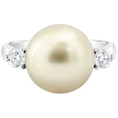 Roman Malakov Cultured Tahitian Pearl and Diamond Three-Stone Cocktail Ring