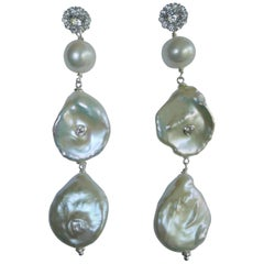 Cultured White Keshi Pearls Pearls Cubic Zirconia 925 Sterling Silver Earrings