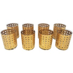 Culver 22-Karat Gold Canella Design Glassware Barware Midcentury Set of 8