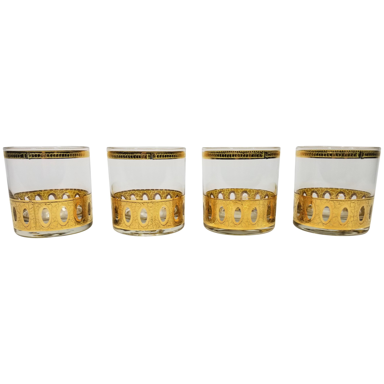 Culver 22-Karat Gold Signed Glassware Barware Midcentury Set of 4