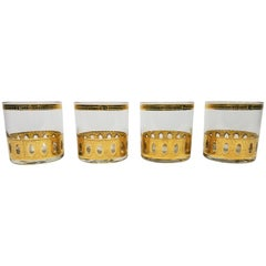 Culver 22-Karat Gold Signed Glassware Barware Midcentury Set of 4