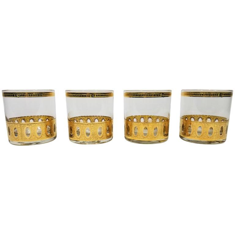 Culver 22-Karat Gold Signed Glassware Barware Midcentury Set of 4 For Sale