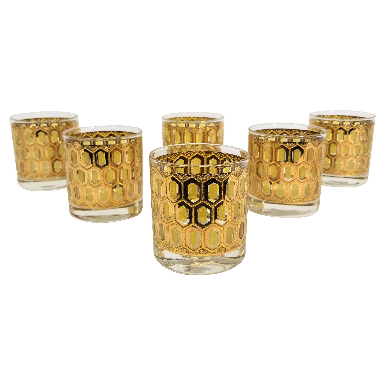 Culver 22k Gold Barware Glassware 1960s Mid Century Set of 6