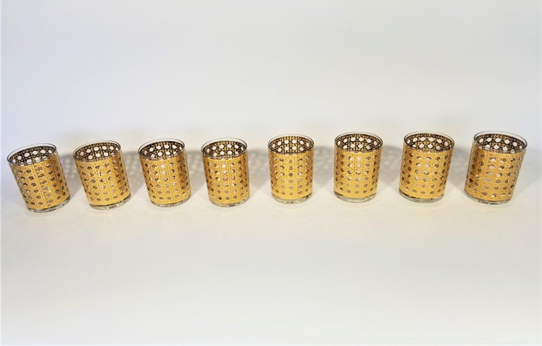 Culver 22-Karat Gold Canella Design Glassware Barware Midcentury Set of 8 For Sale 10