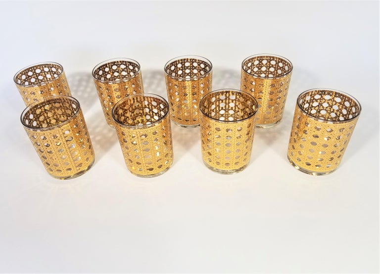 Culver 22-Karat Gold Canella Design Glassware Barware Midcentury Set of 8 For Sale 11