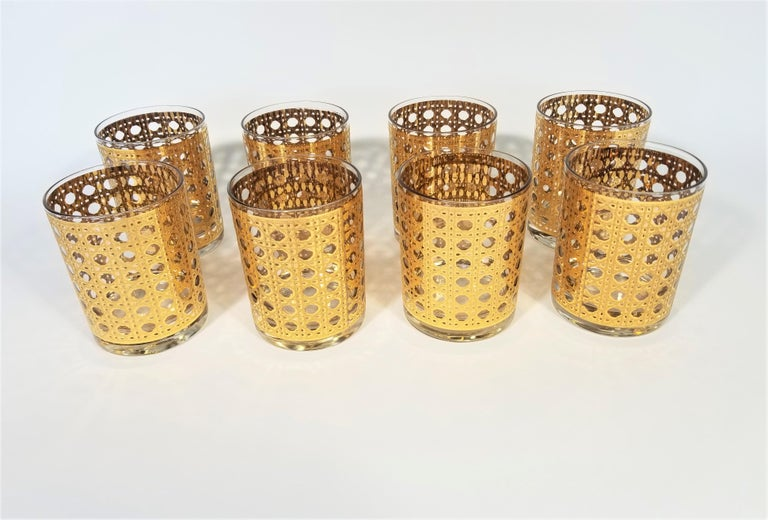 Culver 22-Karat Gold Canella Design Glassware Barware Midcentury Set of 8 For Sale 12