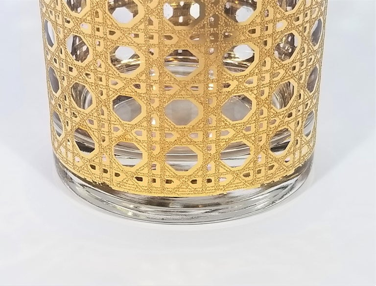 Culver 22-Karat Gold Canella Design Glassware Barware Midcentury Set of 8 For Sale 4