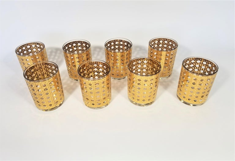 Culver 22-Karat Gold Canella Design Glassware Barware Midcentury Set of 8 For Sale 5