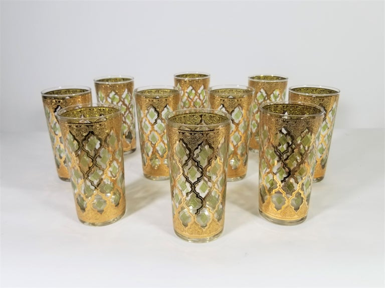 Culver 22-Karat Gold Glassware Midcentury 1960s, Set of 10 In Excellent Condition For Sale In New York, NY
