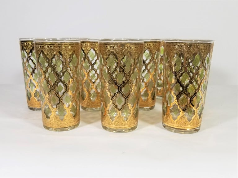 20th Century Culver 22-Karat Gold Glassware Midcentury 1960s, Set of 10 For Sale
