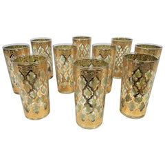 Culver 22-Karat Gold Glassware Midcentury 1960s, Set of 10