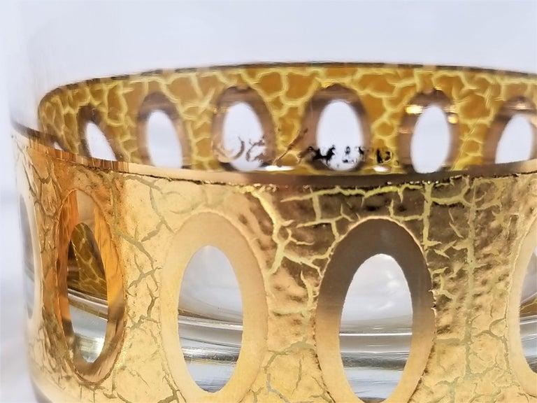 Culver 22-Karat Gold Signed Glassware Barware Midcentury Set of 4 For Sale 6