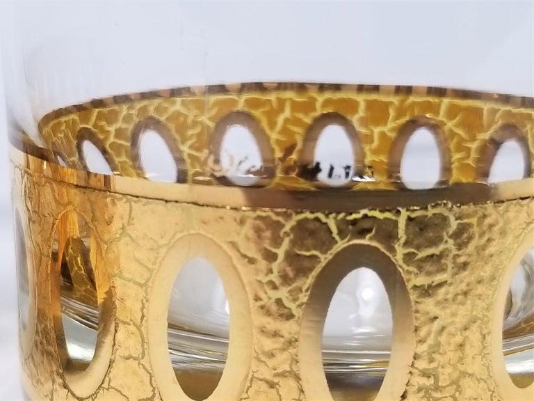 Culver 22-Karat Gold Signed Glassware Barware Midcentury Set of 4 For Sale 7