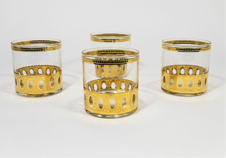 Culver 22-Karat Gold Signed Glassware Barware Midcentury Set of 4 For Sale 8