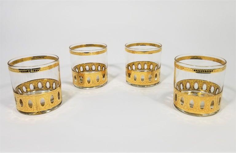 Culver 22-Karat Gold Signed Glassware Barware Midcentury Set of 4 For Sale 9