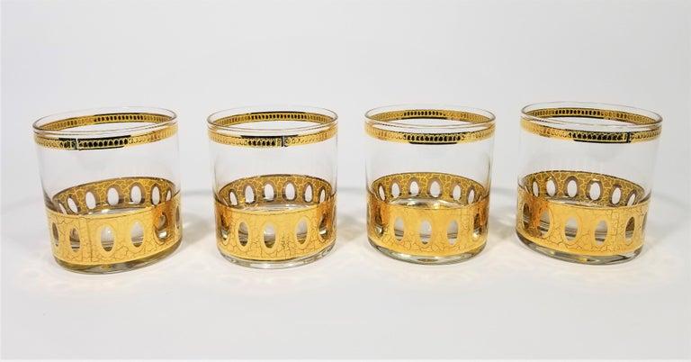 Set of 4 Culver 22-karat gold glasses. All signed, 1960s midcentury.
