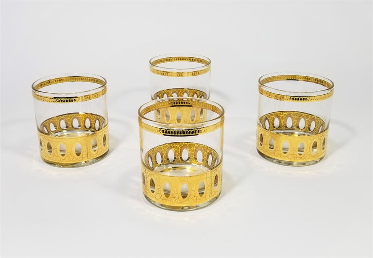 Culver 22-Karat Gold Signed Glassware Barware Midcentury Set of 4 In Excellent Condition For Sale In New York, NY