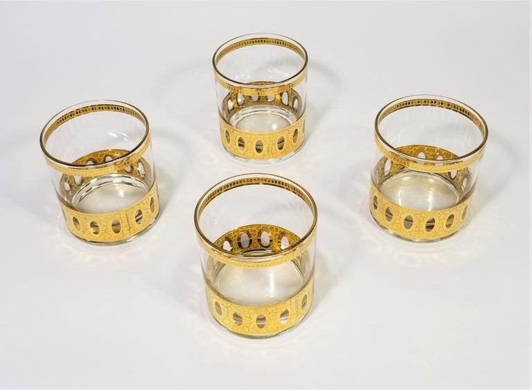 20th Century Culver 22-Karat Gold Signed Glassware Barware Midcentury Set of 4 For Sale