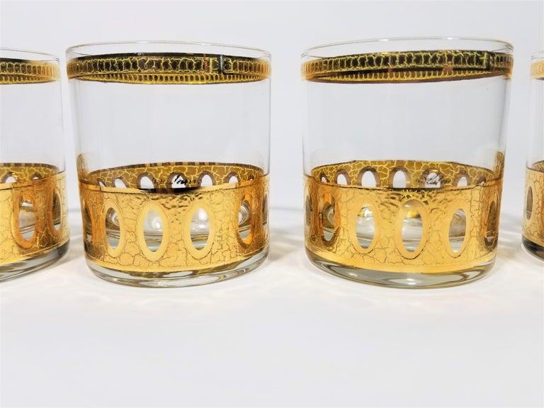 Culver 22-Karat Gold Signed Glassware Barware Midcentury Set of 4 For Sale 1