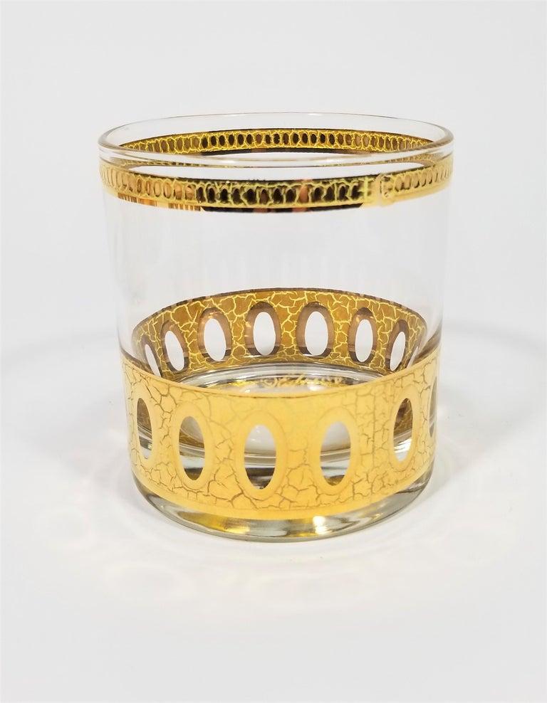 Culver 22-Karat Gold Signed Glassware Barware Midcentury Set of 4 For Sale 2